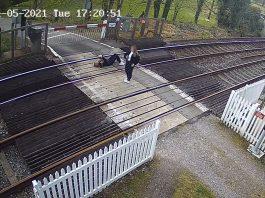 CCTV image showing girls on level crossing near Eridge